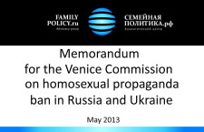 Memorandum for the Venice Commission on the Russian/Ukrainian laws limiting propaganda of homosexuality